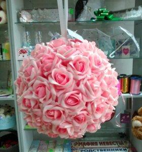 Шар декоративный из иск. цветов