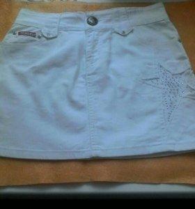 Юбка джинсовая, белая,мини