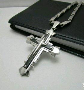 Цепь с крестом,титан.