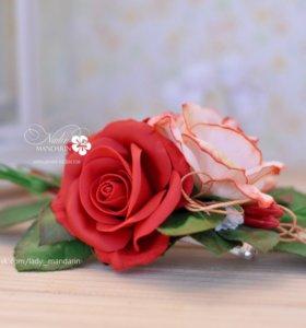 Заколка с розами из фоамирана