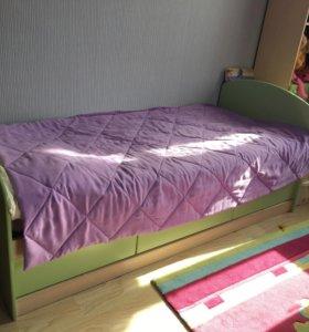Комплект кровать с матрасом+стол письменный
