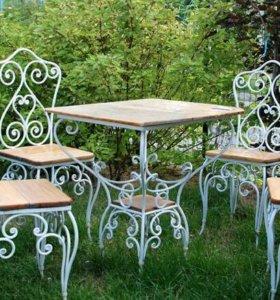 кованый набор 4 стула и один стол