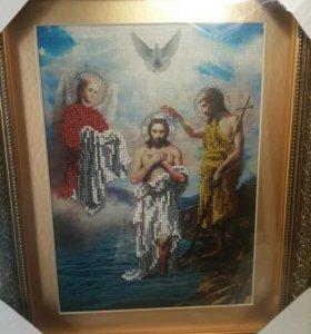Икона из бисера икона Крещения Господня