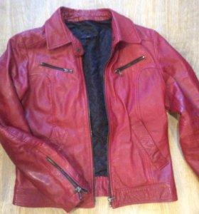 Тёплая кожаная куртка sasch р44-46