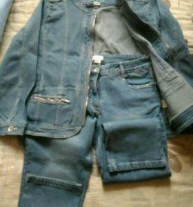 Джинсы (капри)+джинсовка(новые)