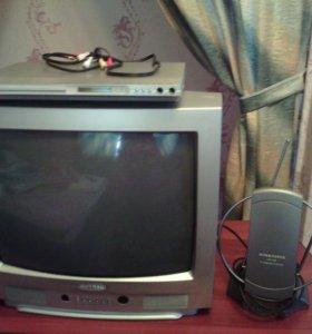 Телевизор +двд , антенна в подарок