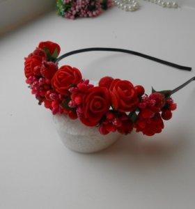 Ягодно-цветочный ободок ручной работы