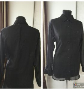 Черная шифоновая блузка рубашка