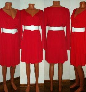 Красное платье 44-46 стрейчевое Promod