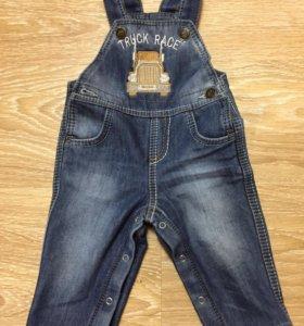 Комбинезон джинсовый на флисе р.68 (Новый)