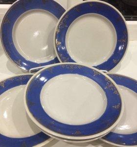 6 тарелок из ссср . Золотой кружевной рисунок .