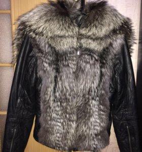 Кожаная куртка с чернобуркой 44
