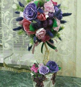 Цветочный топиарий из фоамирана