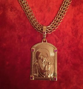 Золотая цепь с иконой,в замке 3 бриллианта 136гр