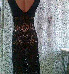 Летнее ажурное вязаное платье