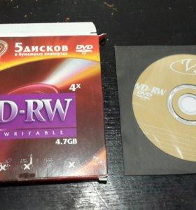 Диски DVD-RW пустые доболванки 25 штук