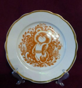 Декоративная тарелка Олимпийский Мишка cccр Дулево