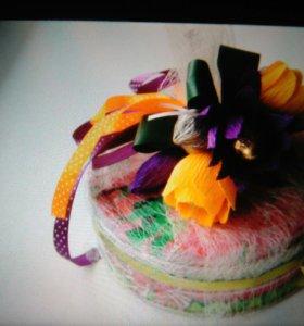 Печенье украшенное конфетными цветами