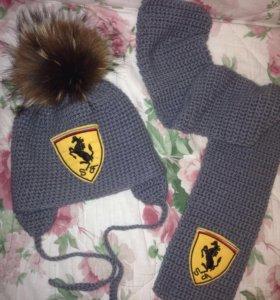 Набор новый Ферарри шапка + шарф 50 р