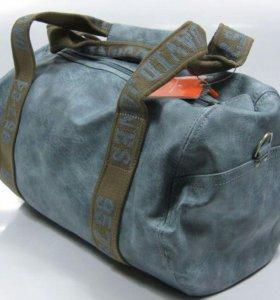 Спорт 42см сумка кожаная дорожная 52,5 см DJ синяя