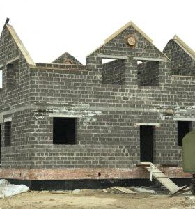 Строительство домов из блоков, кирпича.