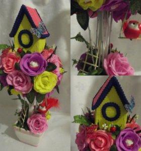 Букет из конфет домик в цветах