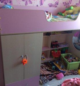 Комплект для девочки кровать+шкаф