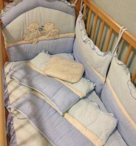 Кроватка-маятник+матрас(ортопед.)+бортики+подушка