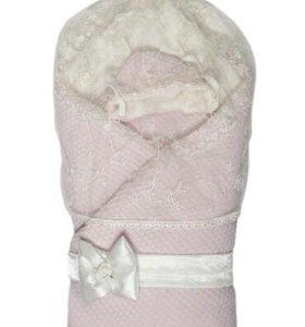 Конверт- одеяло на выписку с натуральным мехом