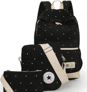Рюкзак сумка и косметичка 3 в 1, чёрный в горошек