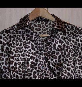 Блузка шёлковая,леопардовая