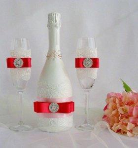 Свадебные бутылки и бокалы, свечи