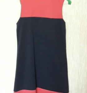 Платье темно-синее с вставками корралового цвета