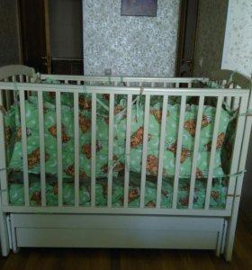 Кроватка детская чу-ча с ортопедическим матрасиком