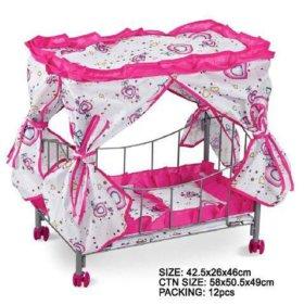 Кроватка для кукол новая на колесиках