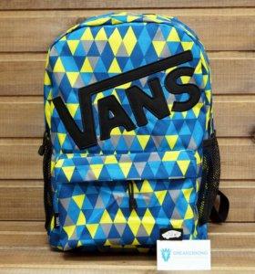Рюкзак Vans, с черным лого, синий с голубым и желт