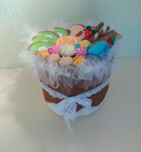 Шкатулка из фетра торт