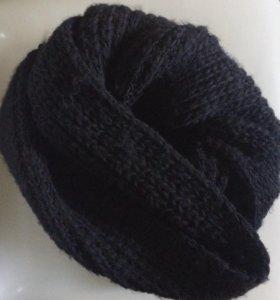 Шарф-хомут чёрный, плотный
