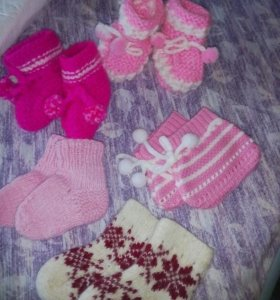 Носочки,пинетки для девочки .