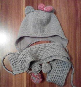 Комплект на весну из шапки и шарфика