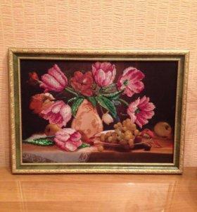 Вышивка бисером ''тюльпаны''