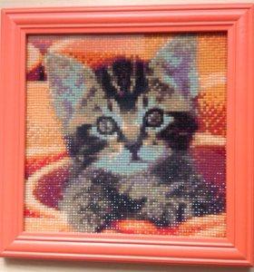 Картина алмазная мозаика. Котёнок