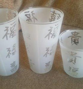 Стеклянные вазы с иероглифами, комплект