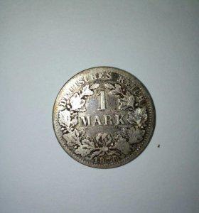 1 марка 1876 год. Серебро.