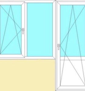 Балконный блок ( окно + дверь)