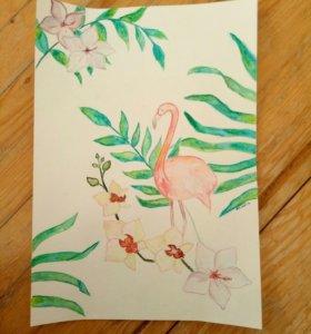 Рисунок, картина фламинго