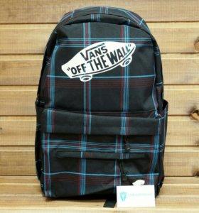 Рюкзак Vans, с белым лого, черный, голубые полоски