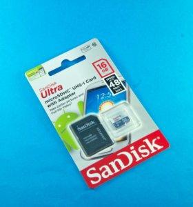 Карта памяти 16GB SanDisk class 10 с адаптером