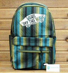 Рюкзак Vans, полоски, темнозеленый, голубой, серый