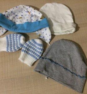 3 шапочки и рукавички